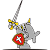 Fish in armor with raised sword