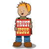 "Boy wearing placard that says ""Trust Jesus"""