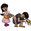 Girl offering homemade cookies to boy who is breaking her doll
