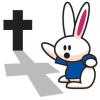 Rabbit Pointing to Cross Image