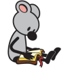 This is a graphic a an adorable grey mouse reading a bible. It is simple, but very cute artwork!