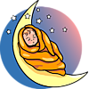 An artsy image of a baby wrapped in a blanket sleeping on the crescent moon.