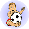 An image of a baby holding a soccer ball. It's style is vintage.