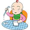 Baby with Glass of Milk | Baby Clip Art