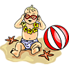 This is a clipart of a baby at the beach wearing sunglasses. He is sitting next to a beach ball in his little Hawaiian diaper. Most babies love the beach.