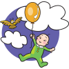 Baby floating in the clouds holding a helium balloon. There's a little bird flying next to the baby. A happy, comic style image.