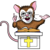 Mouse behind a pulpit giving a sermon