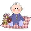 A clipart image of a baby with flowers sitting on checkered picnic blanket. This image reminds us of fresh air and sunshine, happy times with family.