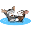 This is an adorable drawing of an older mouse baptising a younger mouse. It is an immersion baptism.