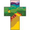 This is a clip art of s cross with a picturesque mountainous path within it.