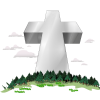 Large cross towering over a forest