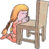 Girl kneeling at chair praying