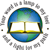 Glowing open Bible before a Globe with the encircling words: Your Word is a lamp to my feet and a light for my path