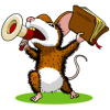 Mouse with megaphone holding up a Bible