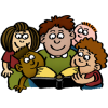This is a clipart of a man reading the Bible to kids of many different cultures. It is cartoon style with clean lines and fresh colors, a very positive image.
