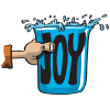 "This is a cartoon drawing of a hand holding a cup labelled ""Joy."" These type images are very popular on ChristArt."
