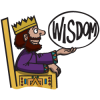 King Solomon Sitting on His Throne and Holding Up the Word Wisdom | Solomon Clip Art