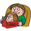 This is an image of a father reading the bible to his little girl. It is comic book style art with a very positive message.