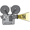 "Movie projector with the word ""Filth"""