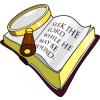 This is an image of a magnifying glass over the Bible, it is a  dimensional view. The message is to look carefully at what was written so you may find the answers to the questions you have.
