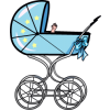 A graphic of a traditional baby buggy with a little hand coming up. Cute and light, great for a shower invitation.