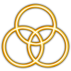 This is an image of the three circles that represent the trinity. They are gold colored.