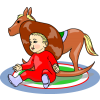 This is a drawing of a baby in a cowboy hat next to a rocking horse. It is classic imagery with clean lines and bright colors.
