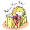 "This is a drawing of a baby bassinet with the words, ""Welcome Home Baby."" Perfect for baby announcements."