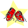 A clip art of red baby booties with a yellow star background. Baby booties are very symbolic of babies and all that goes with it. This image has many uses.