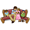 A family sitting on a pew reading Bibles