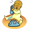 A graphic of a baby on the telephone. Babies loves phones even when they are broken!