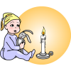 An image of a baby in pjs, nightcap, and bunny, sitting next to a candle. This image is in a settling of days in the past. Today we might no set a young child next to a candle, but things were different before electricity.