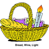 Basket of Bread Wine and Candle | Food Clip Art
