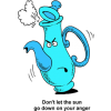 "This is a very cute drawing of an angry teapot, steam coming out of the lid. Below is Ephesians 4:26 ""Don't let the sun go down on your anger."""