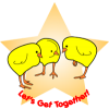 "A clipart of chicks gathered together with a star background with the words, ""Let's get together!"" It's a cute way to announce a women's get together."