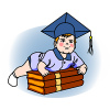 This is an image of a baby wearing a diploma cap happily leaning on books. So cute to think of the beginning of childhood and the end in the same image.