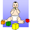 An image of a baby boy in diapers playing with blocks. A teething baby puts everything in their mouth.