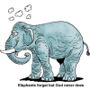 "This is a cartoon image of an elephant with the words, ""Elephants forget but God never does."""