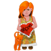 Girl holding a laced heart with the word Mom | Mothers Day Clip Art