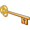 This is an illustration using a key. The end that unlocks is a cross, the other is a symbol for the trinity.