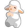 This is a simple yet cute image of a little white lamb praying. Available also in black.