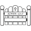 This is an image of a white picket gate with a cross on it and the verse reference John 10:19, which talks about Jesus being the gate.