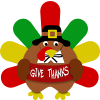 "Turkey holding sign ""Give Thanks"""
