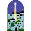 Bethlehem with a star shining down upon it