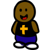 This is an image of a cute, black dough boy wearing a Christian t shirt.