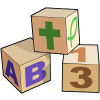 These baby blocks with abc's as well as the top one having a cross and a Christian fish on it, remind us to teach even the babies about the Lord Jesus Christ.