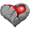 Stone heart cracked open revealing heart of flesh