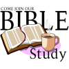 This is a clipart image of a bible next to a hot cup of coffee. A pleasant image for a bible study invitation!