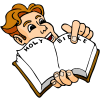 Excited man pointing to page in Bible | Bible Clip Art