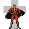 "Super hero with a cross behind him and  the words ""Stand Firm"" below."